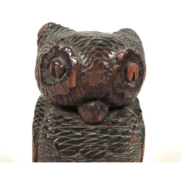 Wood Folk Art Carved Owl For Sale - Image 7 of 12