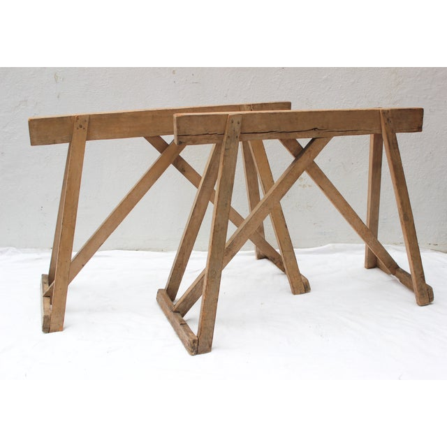19th Century French Country Wood Saw Horse Table Bases - a Pair For Sale - Image 13 of 13