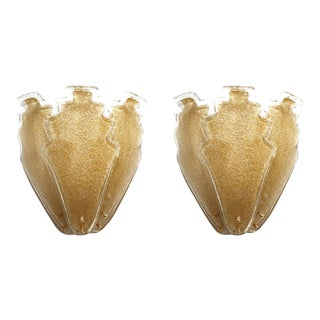 2 Pairs of Large Gold Granilia Murano Glass Mid Century Modern Sconces, Barovier For Sale