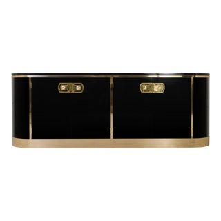 Mastercraft Ebony Lacquer & Polished Brass Credenza For Sale