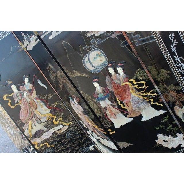 Vintage Asian Ebony Lacquer Folding Screen - Image 4 of 10