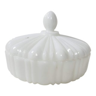 1950s Covered Milk Glass Candy Dish For Sale