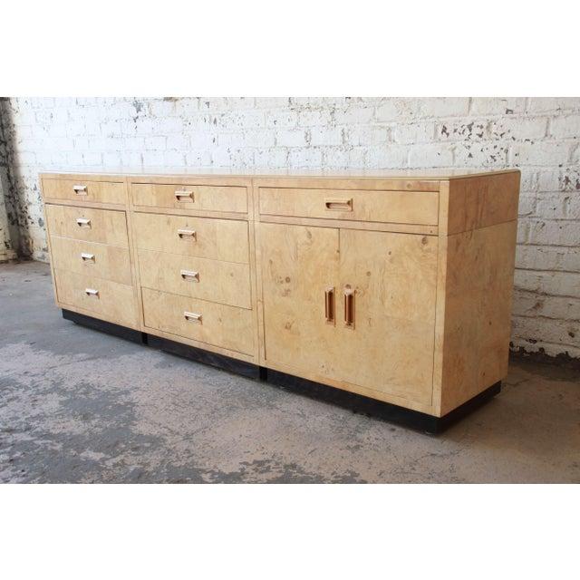 Henredon Burl Wood Long Credenza or Bar Cabinet by Henredon For Sale - Image 4 of 13