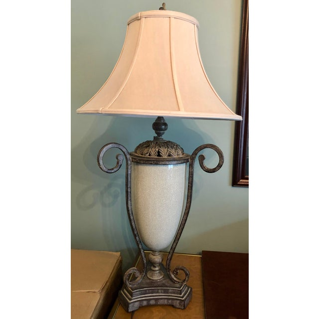 Robin's Egg Blue Table Lamp & Lamp Shade For Sale - Image 8 of 9