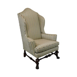 Baker Stately Homes Collection Spanish Baroque Large Mahogany Wing Chair For Sale