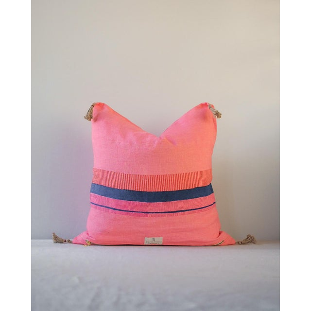 """""""Teejan"""" Handwoven and Blockprinted Linen Pillow by Soil to Studio For Sale - Image 4 of 5"""