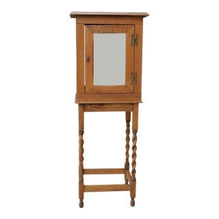 1920's Antique English Oak Curio Display Cabinet For Sale