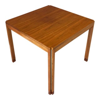 Edward Wormley for Dunbar Walnut With Rosewood and Aluminium Side Table For Sale