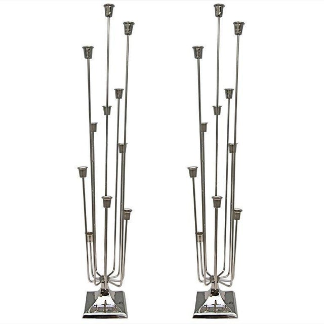1970s Nickel-Plated Candleholders With Eleven Cups - a Pair For Sale - Image 10 of 10