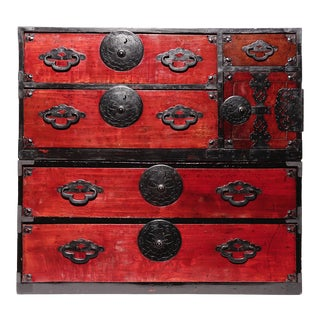 Antique Japanese Yonezawa 2-Section Storage Chest For Sale