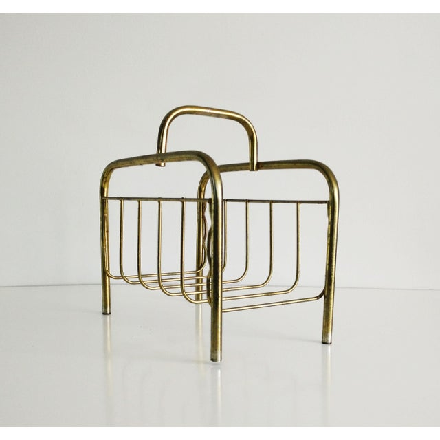 1960s 1960s Mid-Century Modern Brass Magazine Rack For Sale - Image 5 of 8