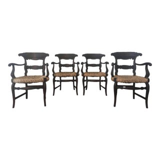 19th Century Set of Four Armchairs with Straw Seat