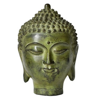 Vintage Mid Century Bronze Buddha Head For Sale
