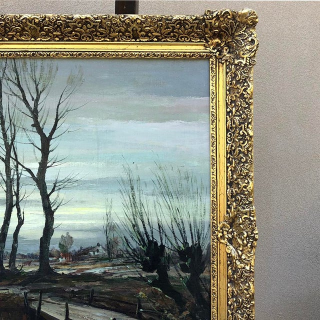 Expressionism Antique Framed Oil Painting on Canvas Signed T. Moens For Sale - Image 3 of 11