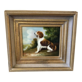Spaniel Still Life Signed Oil on Canvas Painting