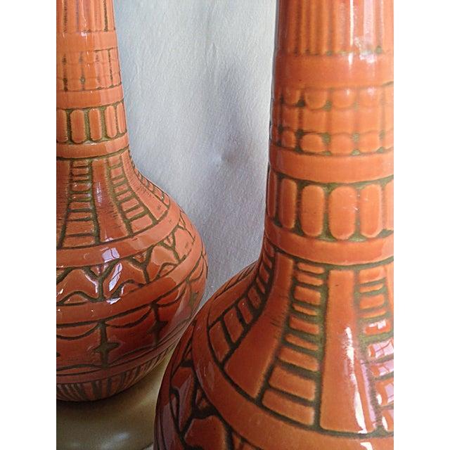 Orange Mid-Century Lamps - A Pair - Image 4 of 4