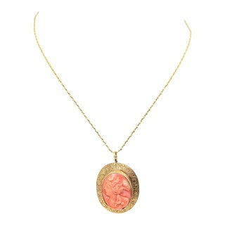 14k Gold & Coral Cameo Brooch/Necklace For Sale