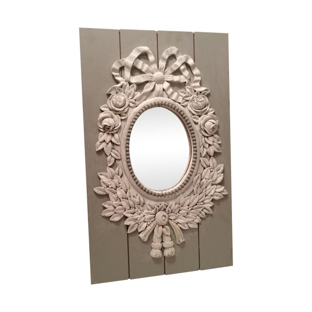 French Style Painted Shabby Chic Mirror For Sale