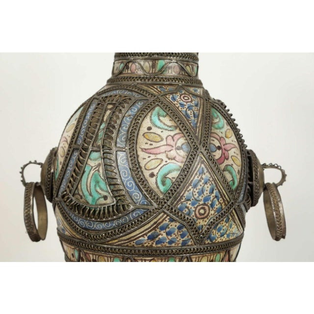 Islamic Antique Moroccan Ceramic Vase From Fez For Sale - Image 3 of 9