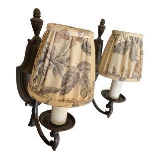1980's Traditional Forged Bronze Sconces With Linen Shades - a Pair For Sale