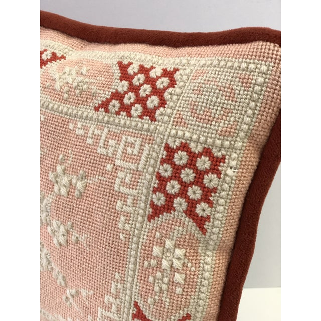 Textile Vintage Cherry Blossom Needlepoint Pillow in Blush and Coral For Sale - Image 7 of 11