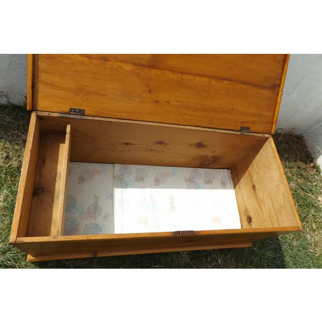 Primitive Antique Dovetailed Pine Hope Chest For Sale - Image 4 of 10