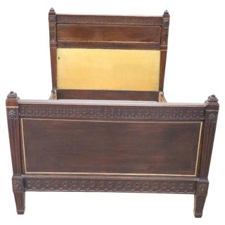 19th Century Italian Louis XVI Style Carved Walnut Bed For Sale