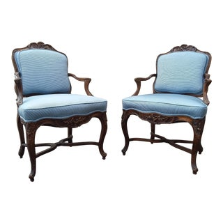 Blue Fabric Armchairs - a Pair For Sale
