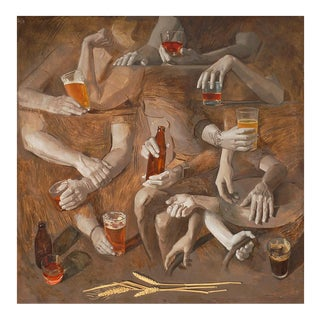 Rye Whiskey and Beer - Original Oil Painting For Sale