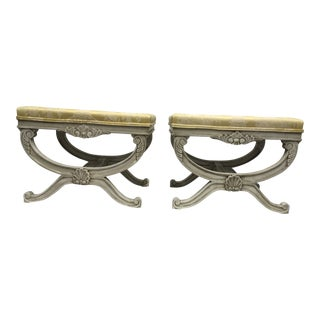 Regency Style Carved Benches, a Pair For Sale