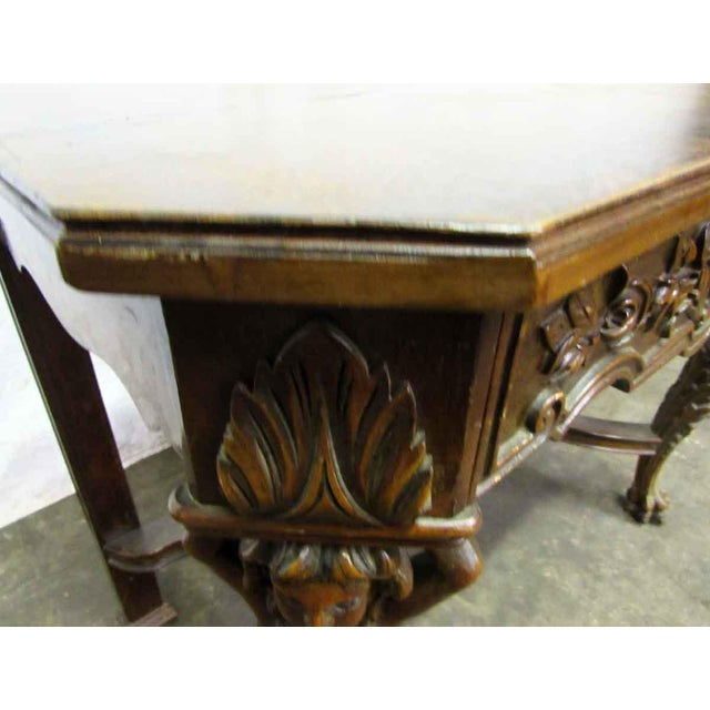 Traditional Bear Claw Wooden Console Table For Sale - Image 3 of 10