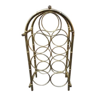 Vintage 1970s Brass Faux Bamboo Wine Rack For Sale