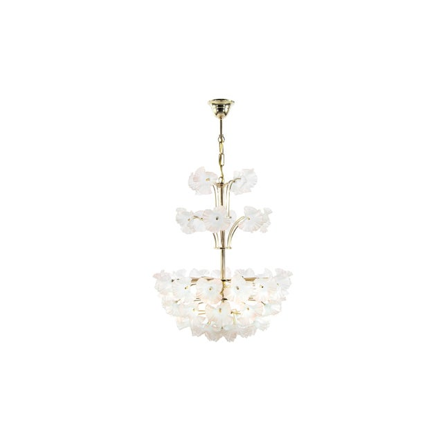 Murano glass and brass Hibiscus chandelier in the style of Paavo Tynell, Italy, 1950s. All glass pieces are in mint...