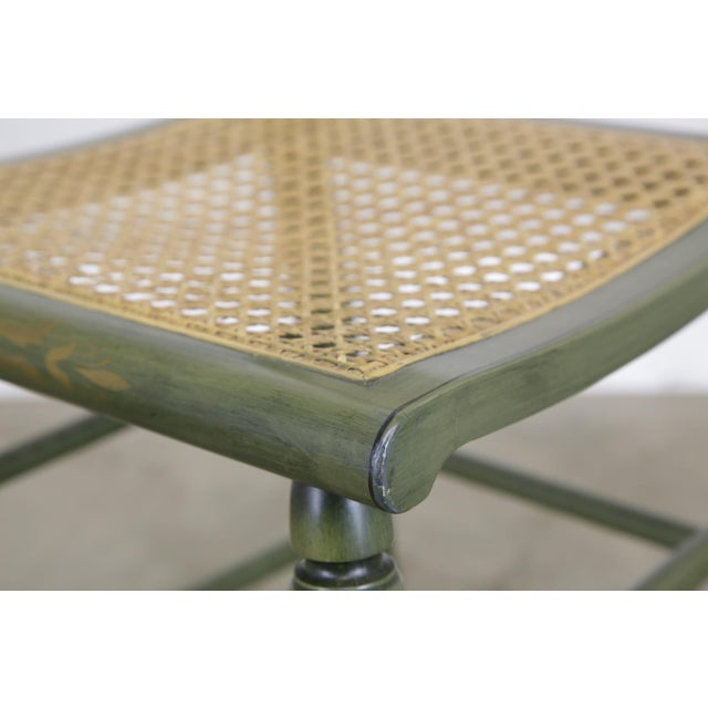 """Hitchcock Green Painted """"Thomas Jefferson's Monticello"""" Cane Seat Side Chair (B) For Sale - Image 9 of 13"""