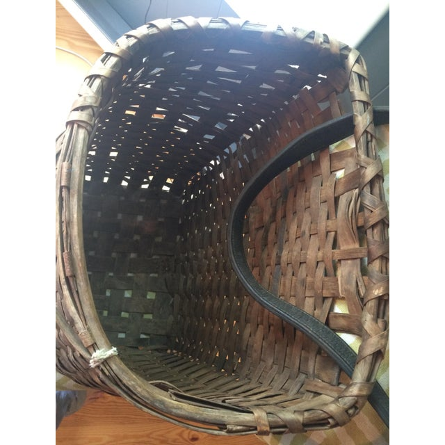 Animal Skin 1950s Minimalism Leather and Wicker Picker's Basket For Sale - Image 7 of 8