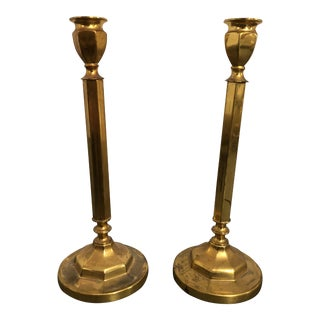 1970s Brass Candle Holders - a Pair For Sale