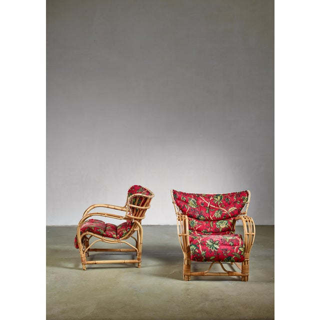 Mid-Century Modern Pair of Bamboo and Rattan Lounge Chairs, Sweden, 1940s For Sale - Image 3 of 8
