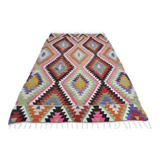 Vintage Turkish Antalya Nomads Kilim Rug-5′11″ × 9′3″ For Sale