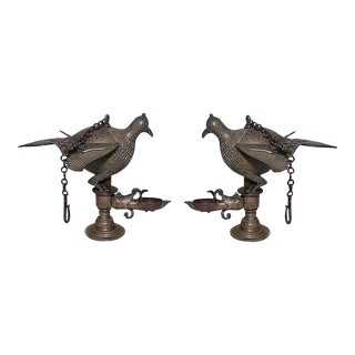 Indian Style Bronze Figures of Birds of Paradise Standing on Incense Burner Base- A Pair For Sale