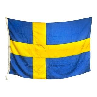 Vintage Wool Nautical Flag of Sweden For Sale