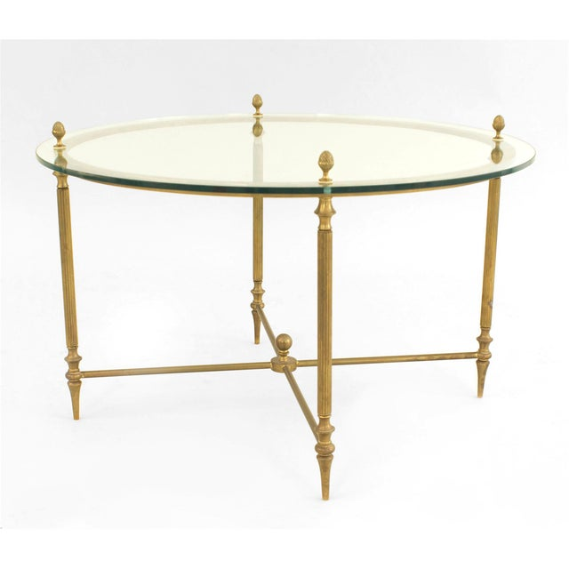 Mid-Century American Brass Coffee Table With Four Nested Wedge Tables For Sale In New York - Image 6 of 7