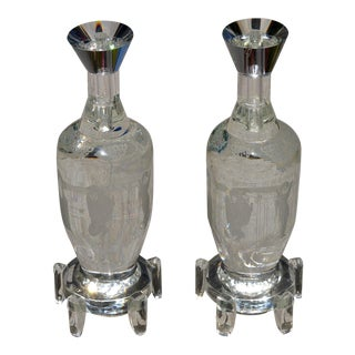 Solid Clear Crystal Candlesticks, Large and Heavy With Etched Art - a Pair For Sale