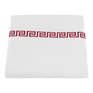Greek Key King Duvet Cover in Red For Sale