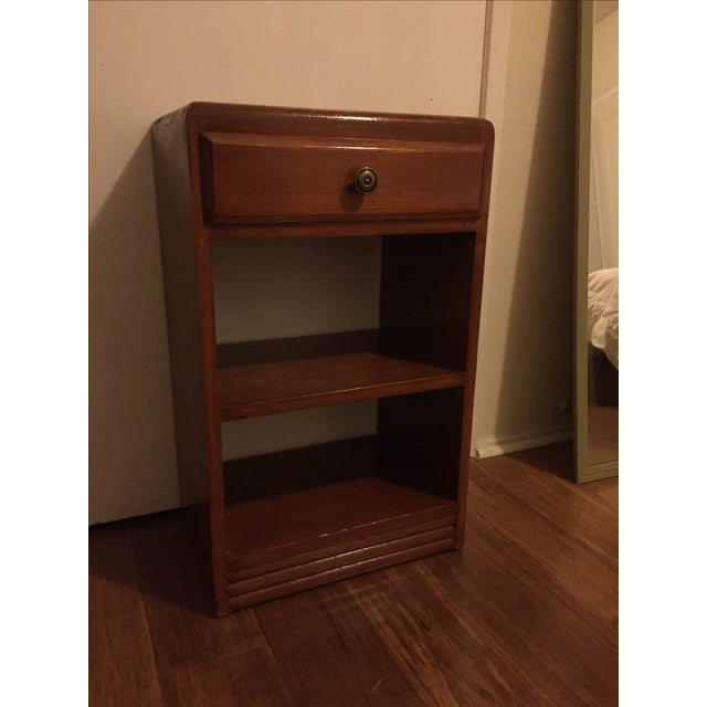 Vintage Wood One Drawer Nightstand Side Table - Image 4 of 5