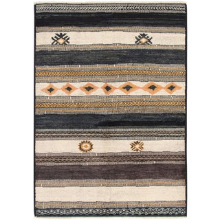 """Moroccan Black and Ivory Rug-6'x8'9"""" For Sale"""