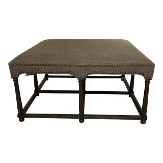 Hickory Chair Marit Cocktail Ottoman With Upholstered Top For Sale