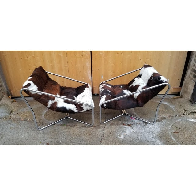 Contemporary Italian Tubular Chrome Framed Scoop Sling Chairs Newly Upholstered - Pair For Sale - Image 3 of 5