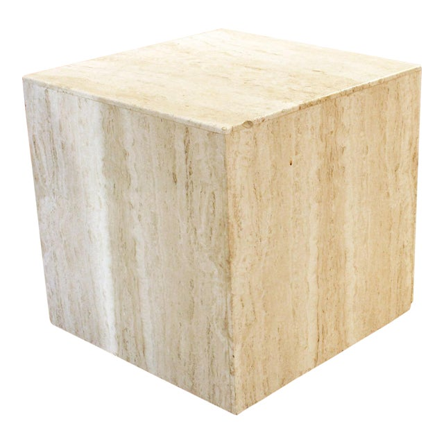 Mid-Century Modern Travertine Marble Cube Table For Sale