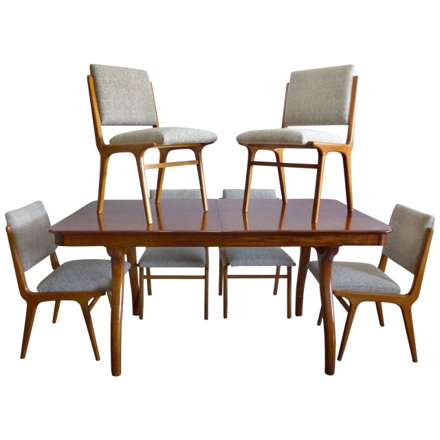 Giuseppe Scapinelli De Rosa Wood Dining Table and Chairs Circa 1960 For Sale