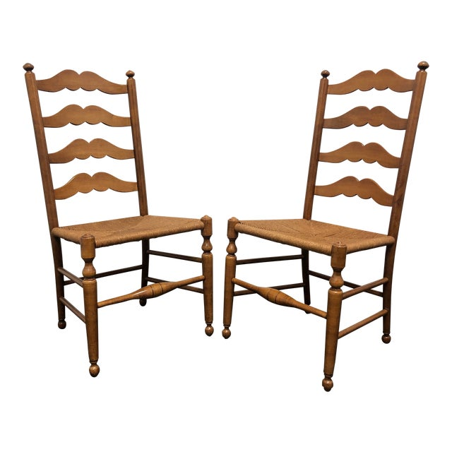 Ethan Allen Ladder Back Rush Seat Dining Side Chairs - Pair 1 For Sale